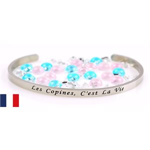 Stainless Steel Bangle Message: Les Copines, C'est la Vie 77298