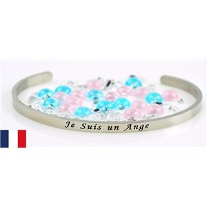 Stainless Steel Bangle Message: Je Suis Un Ange 77306