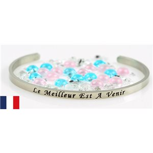 Stainless Steel Bangle Message: Le Meilleur est a Venir 77312