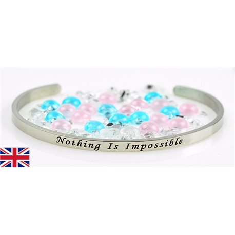 Bracelet Jonc en Acier Inoxydable Message: Nothing Is Impossible 77313