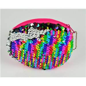 mini trousse Paillettes pour Make Up 10*10cm fermeture zip 77319