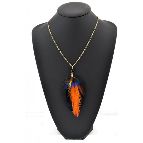 Feather Necklace pendant on a gold chain L60 cm 62329