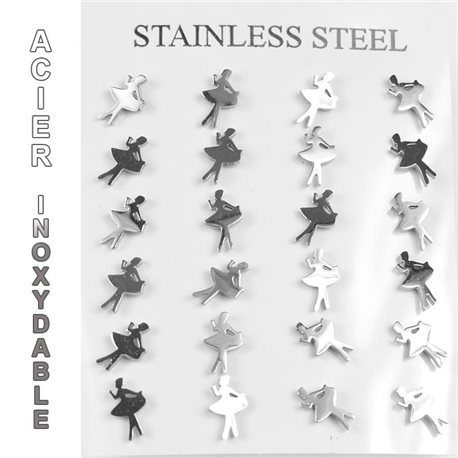 Blister of 12p Earrings Ears Stainless Steel nail clasp butterfly 77256