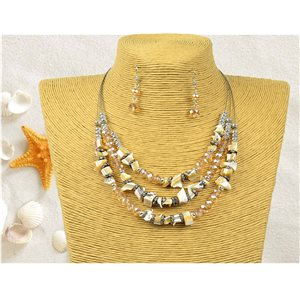 New Collection Parure suspension Collier 3 rang de Perles Coquillages L44-48cm 77156