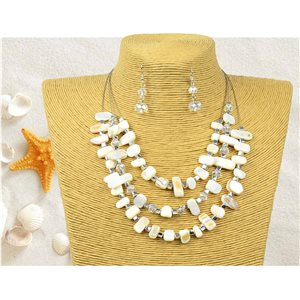 New Collection Parure suspension Collier 3 rang de Perles Coquillages L44-48cm 77150