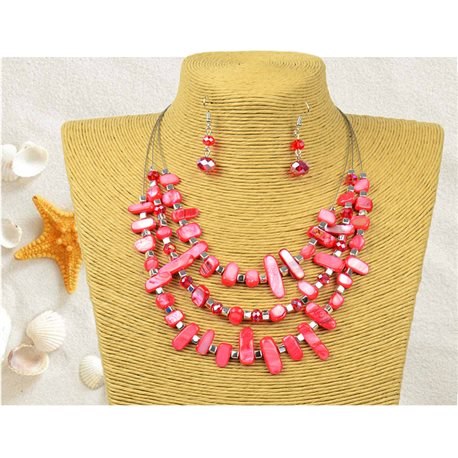 New Collection Parure Pendant Necklace 3 rows of Shell Beads L44-48cm 77151