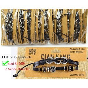 Lot 12 Bracelets Man multirang sliding knot Fashion Biker 0.60 € piece 77452