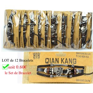 Lot 12 Bracelets Man multirang sliding knot Fashion Biker 0.60 € piece 77454