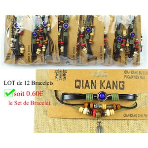 Lot 12 Bracelets Woman multirang on sliding knot Beads and Charms 0.60 € piece 77457