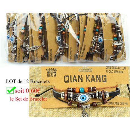 Lot 12 Bracelets Woman multirang on sliding knot Beads and Charms 0.60 € piece 77461