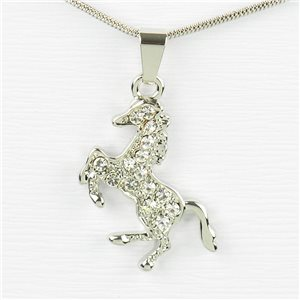 Rhinestone Pendant Necklace IRIS Silver Color Chain snake mesh L40-45cm 77203