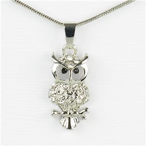 Rhinestone Pendant Necklace IRIS Silver Color Chain snake mesh L40-45cm 77206