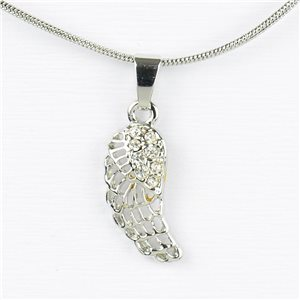 Collier Pendentif Strass IRIS Silver Color Chaine maille serpent L40-45cm 77211