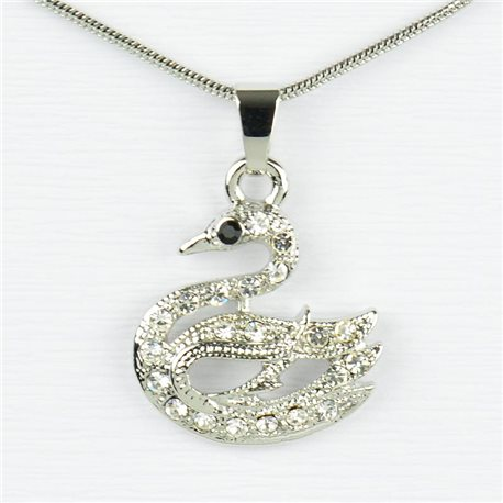 Rhinestone Pendant Necklace IRIS Silver Color Chain snake mesh L40-45cm 77215