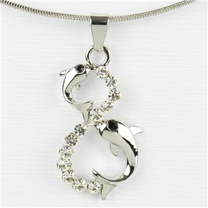 Rhinestone Pendant Necklace IRIS Silver Color Chain snake mesh L40-45cm 77220