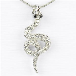 Collier Pendentif Strass IRIS Silver Color Chaine maille serpent L40-45cm 77222
