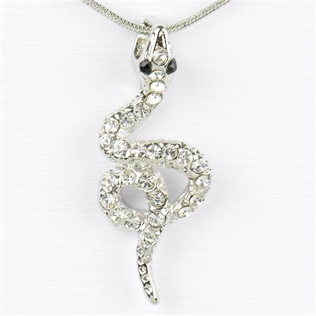 Rhinestone Pendant Necklace IRIS Silver Color Chain snake mesh L40-45cm 77222