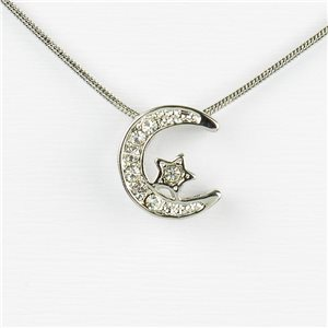 Rhinestone Pendant Necklace IRIS Silver Color Chain snake mesh L40-45cm 77244