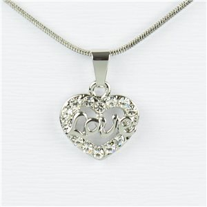 Rhinestone Pendant Necklace IRIS Silver Color Chain snake mesh L40-45cm 77226