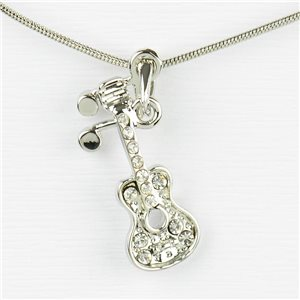 Rhinestone Pendant Necklace IRIS Silver Color Chain snake mesh L40-45cm 77240