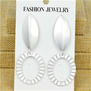 1p Earrings Nail 70mm metal color SILVER New Graphika 77386