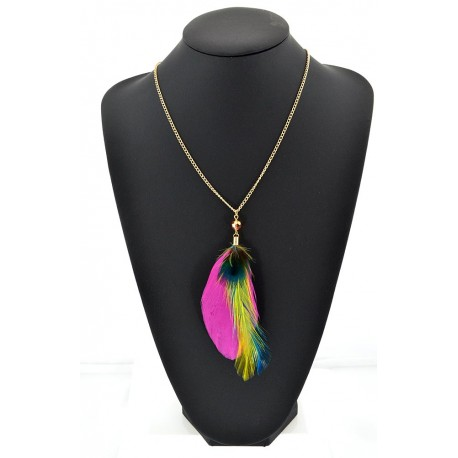 Feather Necklace pendant on a gold chain L60 cm 62332