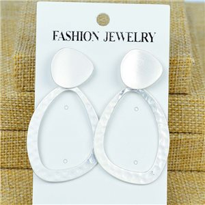 1p Earrings Nail 60mm metal color SILVER New Graphika 77378