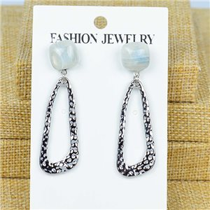 1p Earrings Nail 50mm metal color SILVER New Graphika 77366
