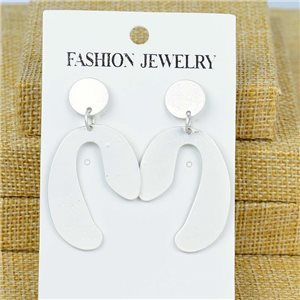 1p Earrings Nail 50mm metal color SILVER New Graphika 77394