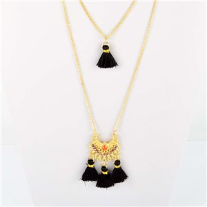 Adornment Pompom Collection 2019 Necklace Multirang chain necklace gold L48cm 76573