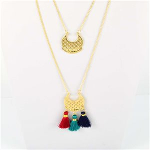 Adornment Collection Pompon 2019 Necklace Long necklace multirang golden chain L48cm 76583
