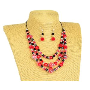 New Collection Parure Collier 3 rangs de Perles en Suspension L44-48cm 77162