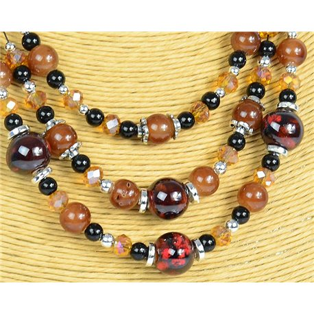 New Collection 2019-2020 Adornment Necklace 3 rows of Pearls in Suspension L44-48cm 77163