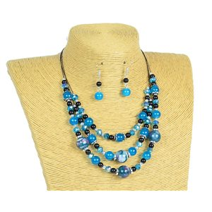 New Collection Parure Collier 3 rangs de Perles en Suspension L44-48cm 77165