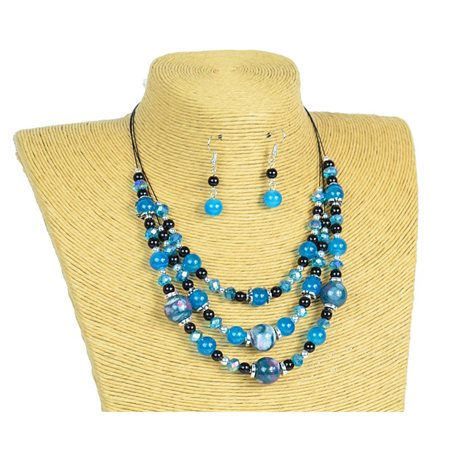 New Collection 2019-2020 Adornment Necklace 3 rows of Pearls in Suspension L44-48cm 77165