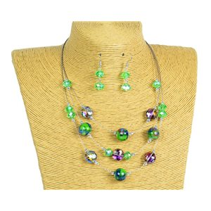 New Collection Parure Collier 3 rangs de Perles en Suspension L44-48cm 77172