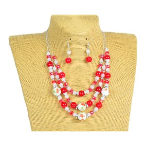 New Collection Parure Collier 3 rangs de Perles en Suspension L44-48cm 77175