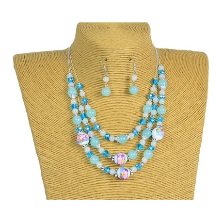 New Collection 2019-2020 Set Necklace 3 rows of Pearls in Suspension L44-48cm 77177