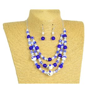 New Collection Parure Collier 3 rangs de Perles en Suspension L44-48cm 77178
