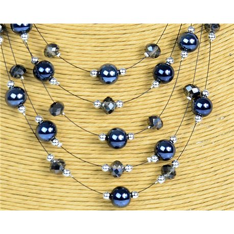 New Collection 2019-2020 Adornment Necklace 5 rows of Pearls in Suspension L44-48cm 77179
