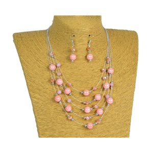 New Collection Parure Collier 5 rangs de Perles en Suspension L44-48cm 77183