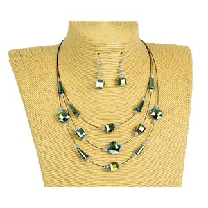 New Collection Parure Collier 3 rangs de Perles en Suspension L44-48cm 77190