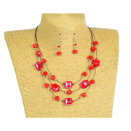 New Collection 2019-2020 Adornment Necklace 3 rows of Pearls in Suspension L44-48cm 77193