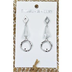 1p Earrings Silver Nail Pearl Crystal Chic Collection 77434