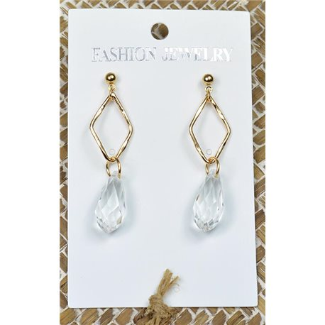 1p Earrings Golden Nail Pearl Crystal Chic Collection 77437