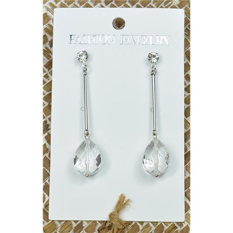 1p Earrings Silver Nail Pearl Crystal Chic Collection 77440