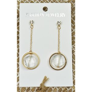 1p Earrings Golden Nail Pearl Crystal Chic Collection 77443