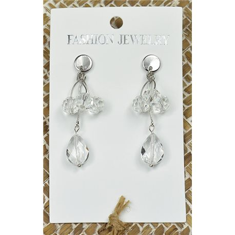 1p Earrings Silver Nail Pearl Crystal Chic Collection 77444