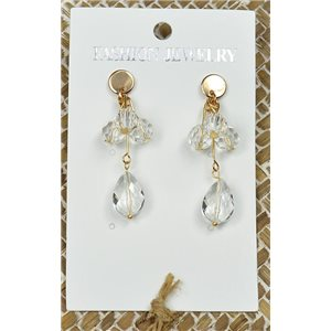 1p Earrings Golden Nail Pearl Crystal Chic Collection 77445