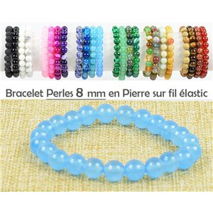 8mm Blue Aventurine Stone Beads Bracelet with Elastic Wire 77474